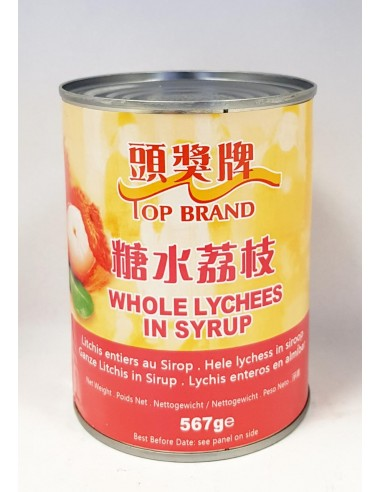 TOP BRAND WHOLE LYCHEES IN SYRUP - 567g