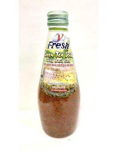 V-FRESH GREEN TEA DRINK WITH BASIL SEEDS - 290ml
