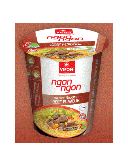 ORIENTAL STYLE BEEF FLAVOR INSTANT WHEAT NOODLES - 60g