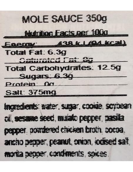 DONA CHONITA MOLE SAUCE - Nutritional
